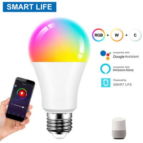 Bombilla inteligente WiFi Luz RGBCW cambio de color A19 E27 vida inteligente aplicacion de control 9W 850LM Bombilla 60mm Sin centro Required Compatible con Alexa y Google Asistente de inicio, 9W inteligente vida APP