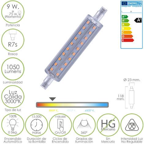 Bombilla / lampara lineal led rosca r7s 9 w. 75 w. 1050 lumenes luz cálida (3000 º k.)