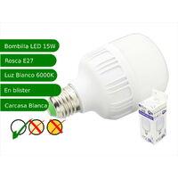 Bombilla LED 15W rosca E27 luz 6000ºK blanco frio