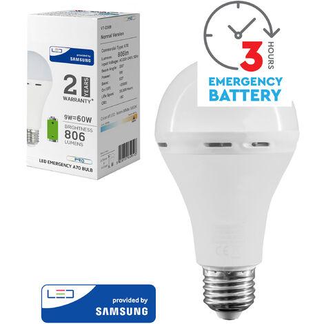 Bombilla LED 9W A65 con bateria de Emergencia (3 Horas) 4000K E27. Portatil. Chip Samsumg
