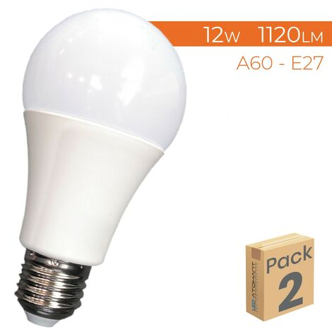 Bombilla LED A60 E27 12W 1120LM A++   Pack 100 Uds. - Blanco Cálido 3000K