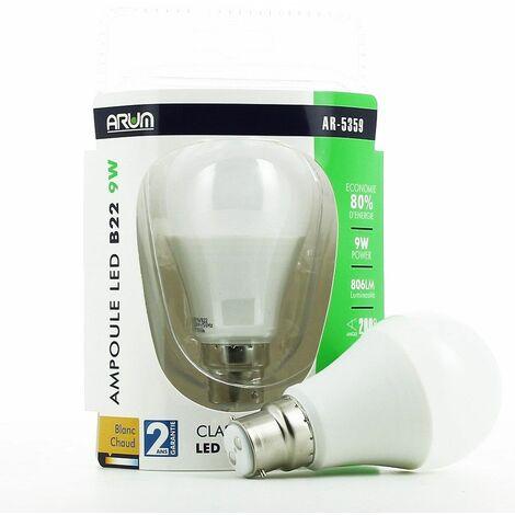 Bombilla LED B22 9W blanco cálido