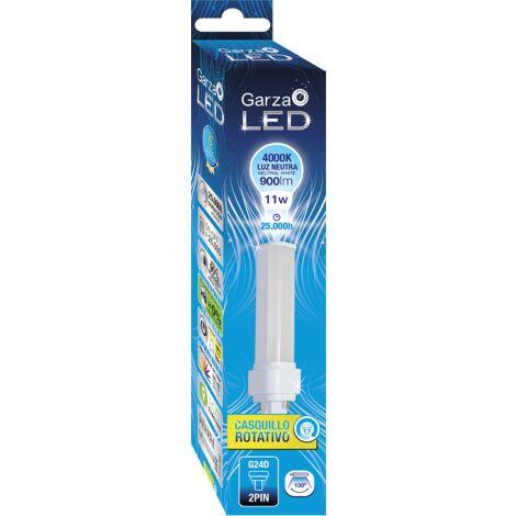 Bombilla LED BIAX 2 pin 11W, casquillo rotatorio G24D, 900 lumenes, Luz neutra