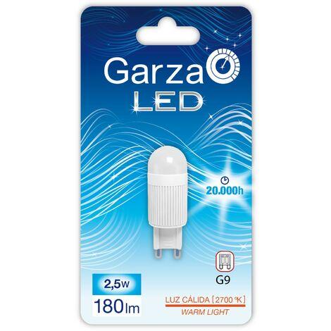 Bombilla LED casquillo G9, 2,5W 160º, 180 lumenes, luz cálida