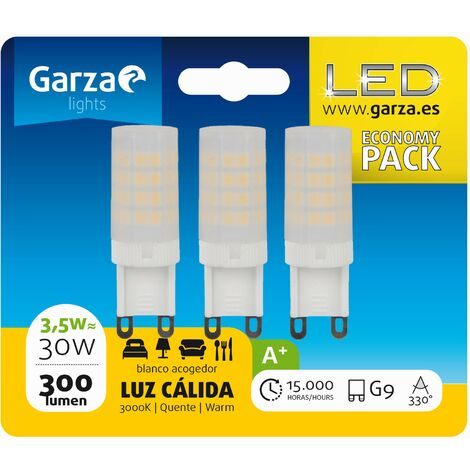 Bombilla LED casquillo G9, 3,5W 300 lumenes, Luz cálida
