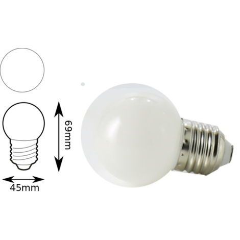 Bombilla led color blanco E27 1W 45mm