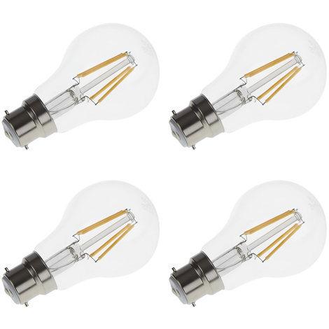 Bombilla LED con Filamentos e Intensidad Luminosa Regulable Biard B22 4W - Blanco Cálido 2700K - Conjunto con 4 Unidades