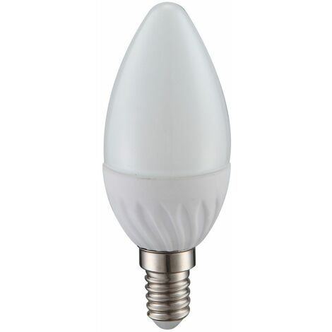 Bombilla LED de 4 vatios E14 vela bombilla de 320 lúmenes 3000 Kelvin luz EEK A + blanco cálido Globo 10623