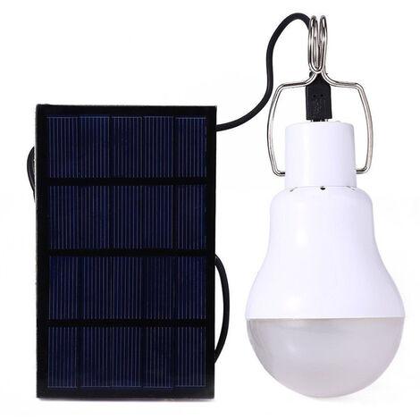 Bombilla LED de energia solar, lampara solar portatil recargable de luz blanca para exteriores