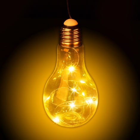 Bombilla LED decorativa, Colgante, Iluminación a pilas, Inalámbrica, Transparente
