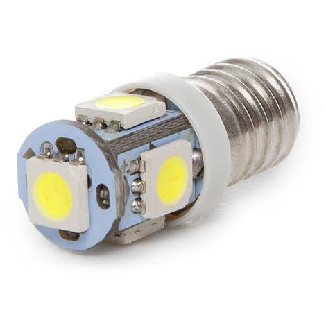 Bombilla de LEDs E10 12VDC 1W 5 X SMD5050 | Blanco Cálido (CA-E10-5MD5050-CW)