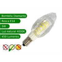 Bombilla LED E14 5W diamante blanco 4200K natural Blister