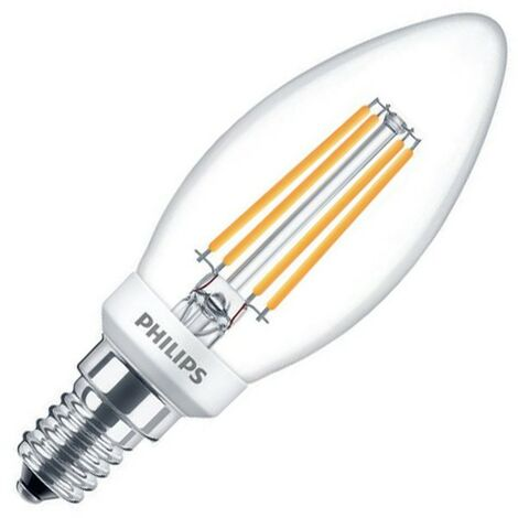Bombilla LED E14 B35 Regulable Filamento PHILIPS Candle CLA 5W Blanco Cálido 2700K