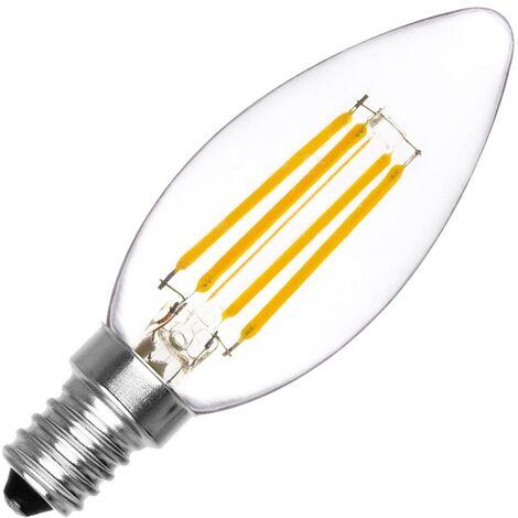 Bombilla LED E14 Casquillo Fino Filamento C35 Vela 4W Blanco Cálido 2000K - 2500K