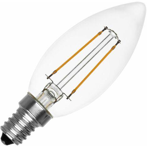 Bombilla LED E14 Casquillo Fino Filamento Candle 2W Blanco Cálido 2700K . - Blanco Cálido 2700K