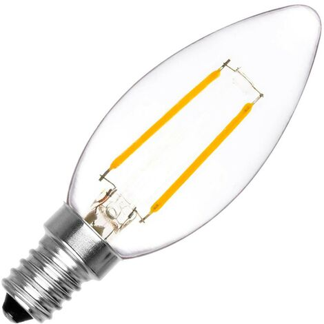 Bombilla LED E14 Casquillo Fino Filamento Classic C35 Vela 2W