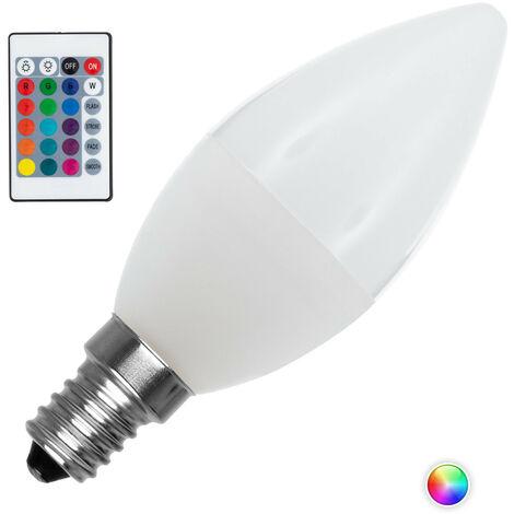 Bombilla LED E14 Casquillo Fino RGBW Regulable C37 4.5W RGBW . - RGBW