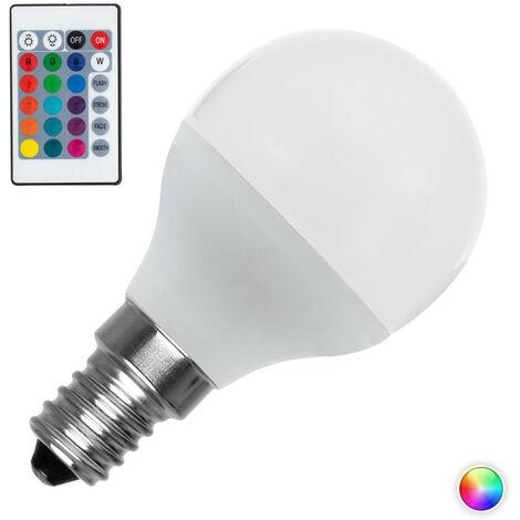 Bombilla LED E14 Casquillo Fino RGBW Regulable G45 4.5W RGBW . - RGBW