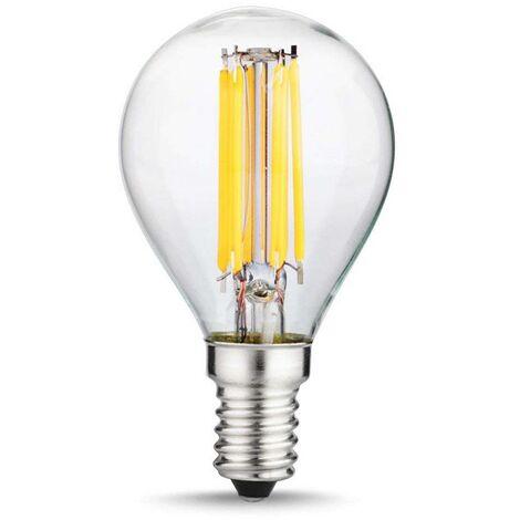 Bombilla LED E14 esférica G45 filamento 6W transparente