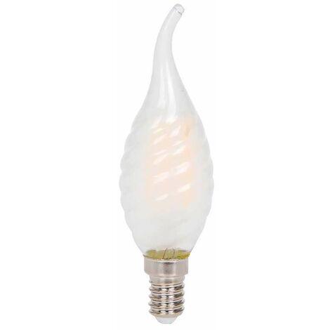 Bombilla LED E14 Filamento twist vela efecto llama Frost Cover 4W