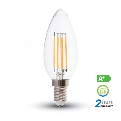 Bombilla LED E14 filamento vela 6W 300º Temperatura de color - 3000K Blanco cálido