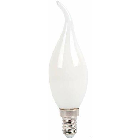 Bombilla LED E14 Filamento vela efecto llama acabado blanco 4W