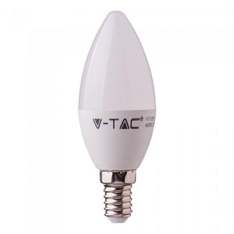 Bombilla LED E14 V-TAC vela tapa blanca 5.5W 200°