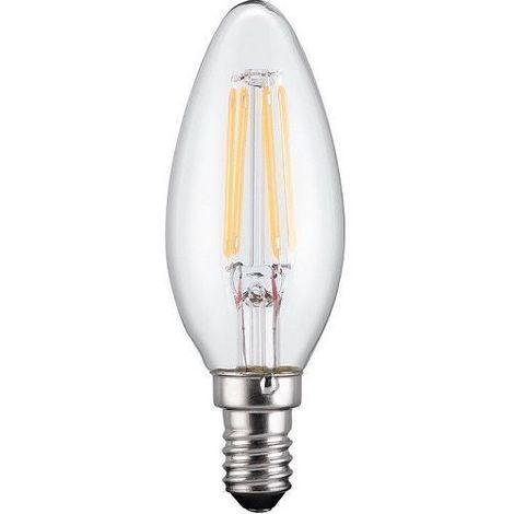 Bombilla LED E14 vela filamentos luz calida 4W