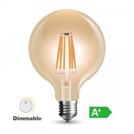 4992880993f V-TAC - Bombilla led globo G125 filamento E27 2200K 8W 300° regulable
