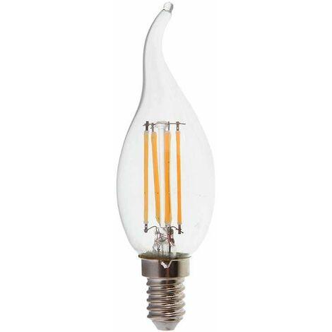 Bombilla led E14 filamento vela efecto llama C35T 4W 300° Temperatura de color - 6000k Blanco frío