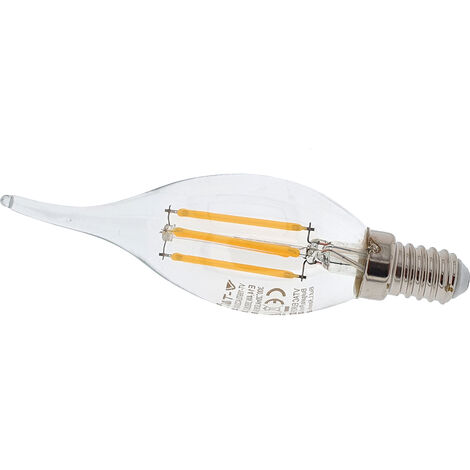 Bombilla LED 4W filamentos E14 Regulable tipo vela-llama 350lm 2700K