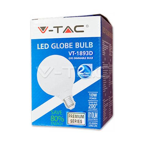 Bombilla Led E27 10W G95 Globo VTAC VT-1893