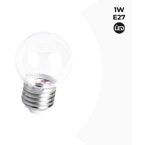 Bombilla LED E27 1W Transparente | Blanco Cálido