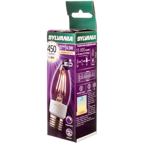 Bombilla LED E27 4,5W ToLEDo RT DIM Vela CL E27 SL Sylvania 363144