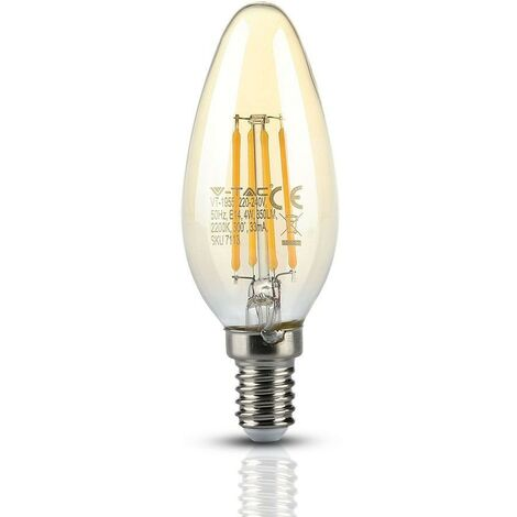 Bombilla LED E14 AMBER FILAMENT 4 W Eq 35W | Temperatura de color: Blanco cálido 2200K