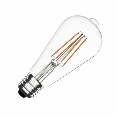 Bombilla LED E27 Casquillo Gordo Filamento ST64 6W Blanco Cálido 2000K - 2500K . - Blanco Cálido 2000K - 2500K