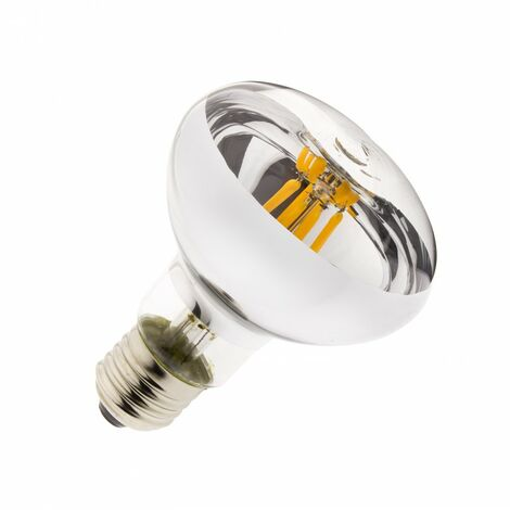 Bombilla LED E27 Casquillo Gordo Regulable Filamento R80 6W