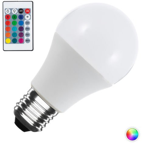 Bombilla LED E27 Casquillo Gordo Regulable RGBW A60 9W RGBW