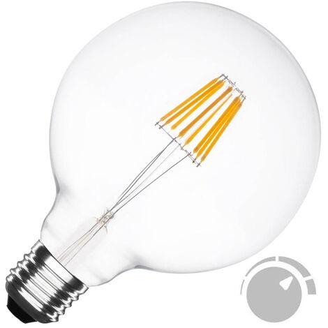 Bombilla Led E27 COB filamento 6W, Ø95x138mm, Regulable, Blanco cálido, regulable