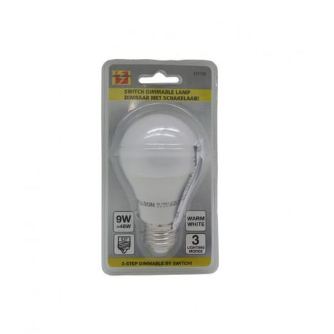 bombilla LED e27 e60 9w + interruptor bla regulable