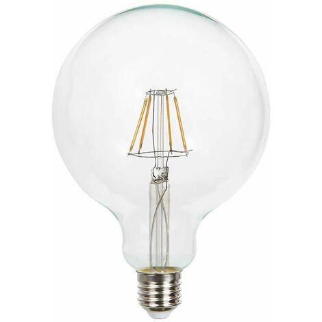 Bombilla LED E27 Filamento Globo G125 6400K 6W