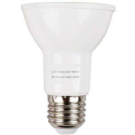 Bombilla LED E27 PAR20 8W   Temperatura de color: Blanco cálido 3000K