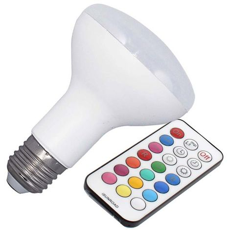 Bombilla LED E27, R80, 10W, RGB + mando a distancia, RGB, regulable