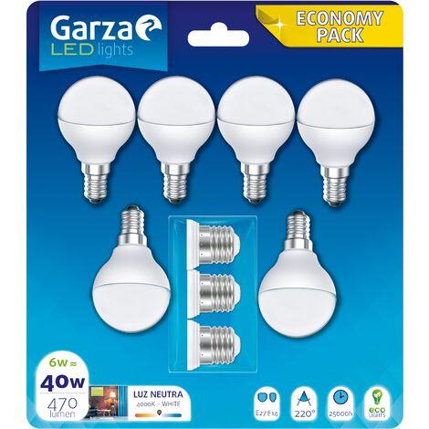 Bombilla LED esférica 6W 470 lumenes, casquillo E14, 220º. Luz neutra, pack 6 + 3 adaptadores de casquillo E27