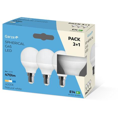 Bombilla LED esférica 6W casquillo E14 220º 470 lumenes Pack 2+1