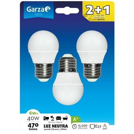 Bombilla LED esférica 6W, casquillo E27, 220º, 470 lumenes, Luz neutra, pack 3