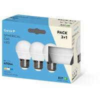 Bombilla LED esférica 6W casquillo E27 220º 470 lumenes Pack 2+1