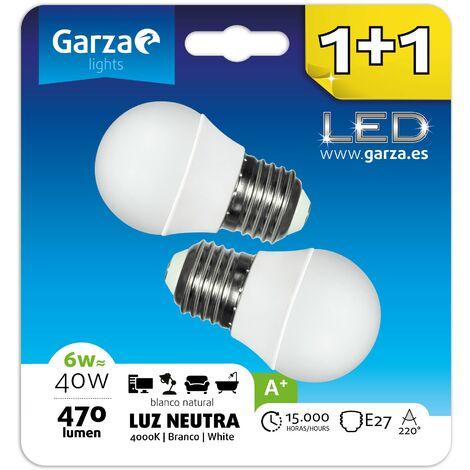 Bombilla LED esférica 6W (equivale a 40W) casquillo E27 220º 470 lumenes, Luz neutra Blister 1+1