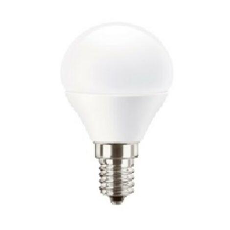 Bombilla led esférica E14 5,5W luz cálida 827 Mazda