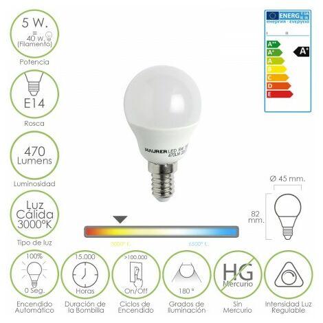 Bombilla led esferica regulable rosca e14 5 w. 40 w. 470 lumenes luz cálida